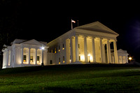 Virginia State Capitol on the lawn at night